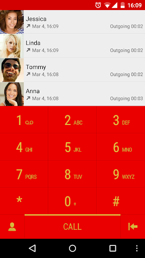 ExDialer Lollipop M9 Red Theme