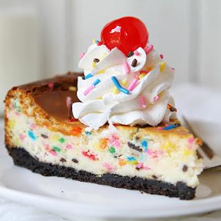 White Chocolate Confetti Cheesecake