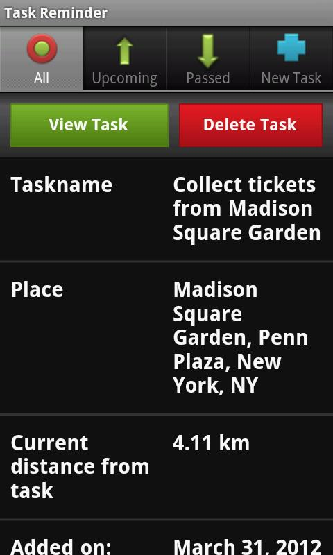 Location Based Task Reminder - screenshot