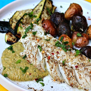 Za'atar-Rubbed Cod With Spicy Chickpea Puree and Grilled Zucchini