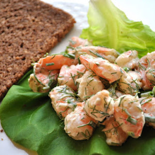 Shrimp Salad with Butter Lettuce and Pumpernickel Bread.