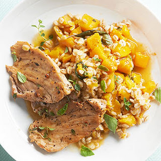 Pork with Butternut Squash Barley Risotto