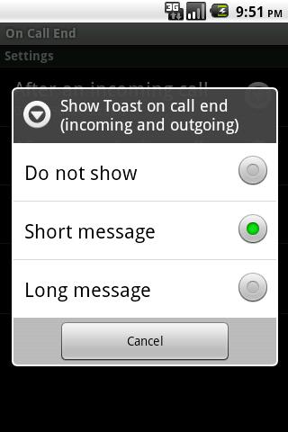 On Call End (not call log)- screenshot