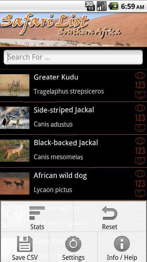 Safari List - Southern Africa- screenshot