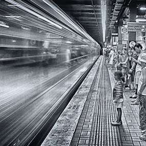 Not Too Close by Jim Merchant - Black & White Street & Candid ( b&w, train, long exposure, underground, sydney )