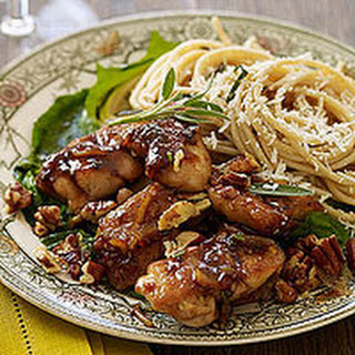 Orange-Balsamic Chicken Thighs with Pecans and Sage Butter Pasta.