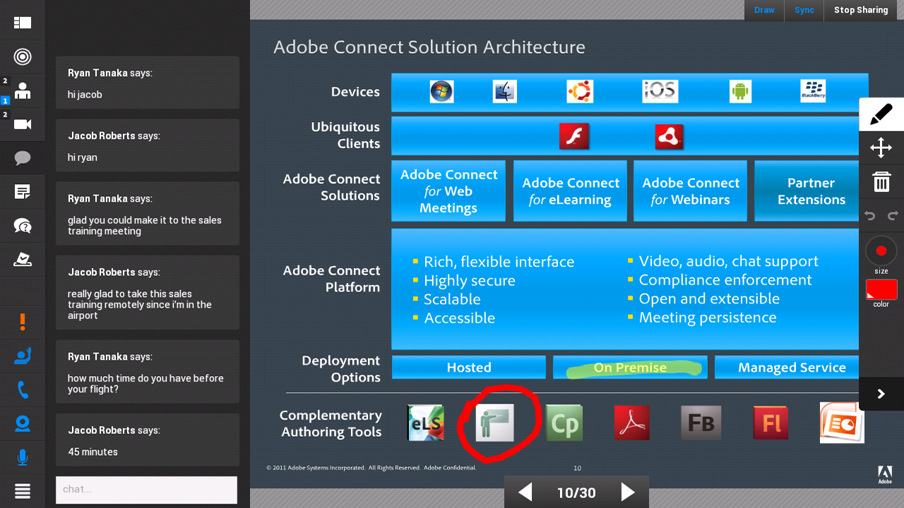 Adobe Connect: captura de pantalla