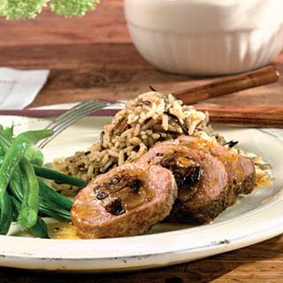 Fruit-Stuffed Pork Tenderloin With Orange-Mustard Sauce.
