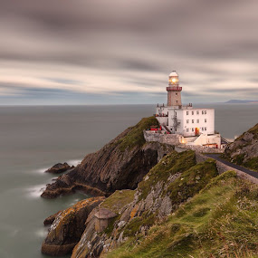 Dublin lighthouse by Peter Krocka - Buildings & Architecture Public & Historical ( , Beach, sunset, blue, water, ocean.  )