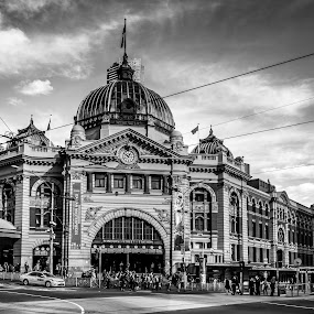 Flinders Station,Melbourne by Amro Labib - Black & White Buildings & Architecture ( canon, 1200d, natural light, building, station, black and white, melbourne, street, white, architecture, travel, heritage, street photography, wide angle, australia, train, summer, trip, black, daylight )