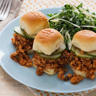 Chicken Sloppy Joe Sliders with Kale Slaw & Homemade Pickles.