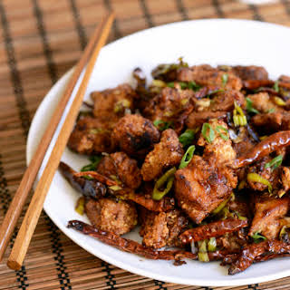 Spicy Wok-Fried Chicken with Chilis (Chongqing Chicken).