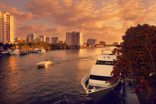 Sunset on the Inland Waterway in Fort Lauderdale, Florida.