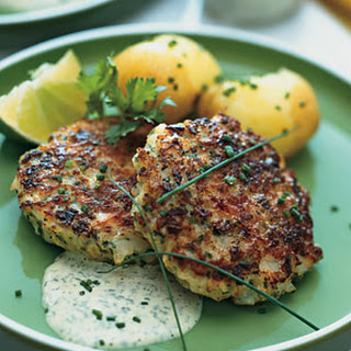 Scallop Cakes with Cilantro-Lime Mayonnaise and New Potatoes.
