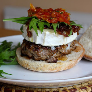 Goat's Cheeseburgers with Hot Relish and Caramelised Onion