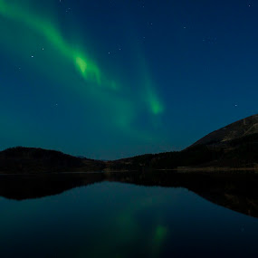 Aurora - Storvannet, norway. by Aleksander Hansen - Landscapes Starscapes ( aurora borealis, reflections, night, landscape, norway )