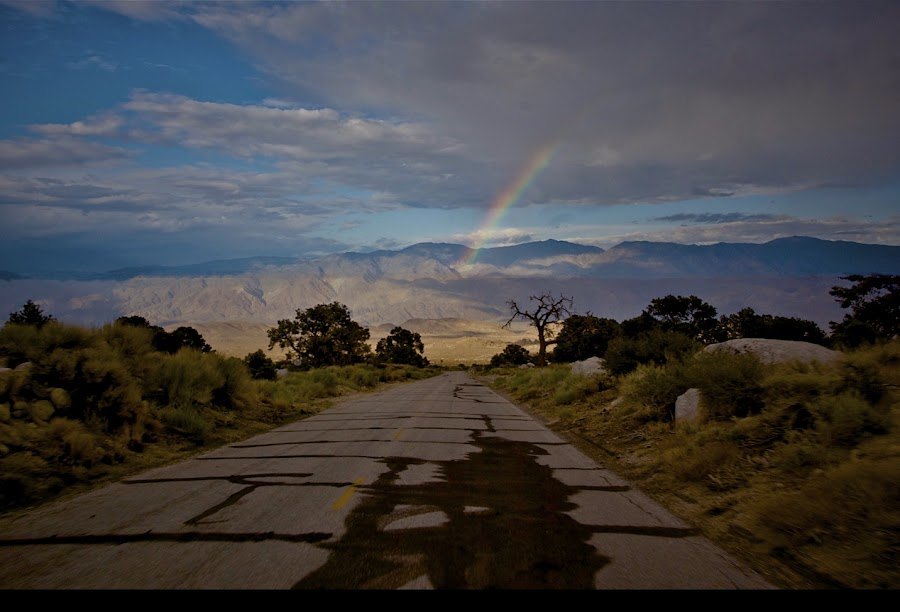 Road to Rainbow by Jim Downey - Landscapes Waterscapes ( portal, dramatic, perspective, roadside, rainbow )