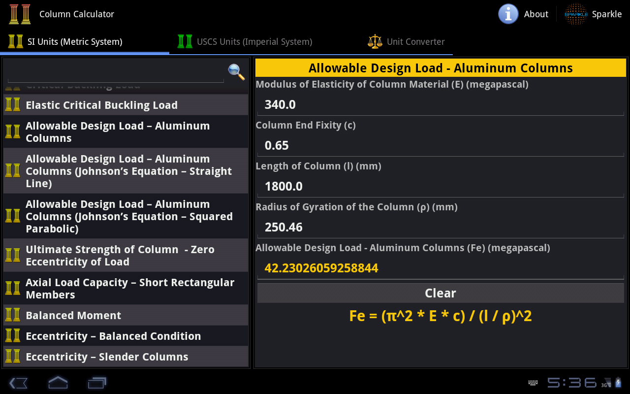 Column Calculator Tablet- screenshot