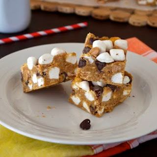 No Bake Peanut Butter Chocolate Marshmallow Bars.