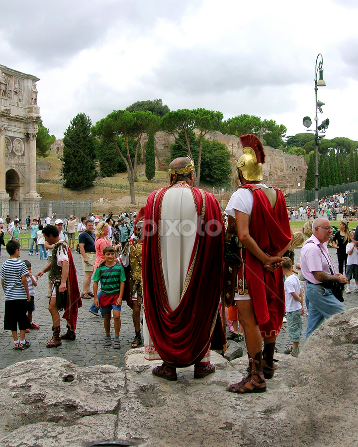 Greeters at the Colleseum by Jane Spencer - People Street & Candids ( rome, tourists, roman centurians, colleseum, italy,  )