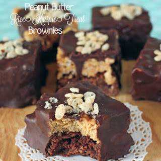 Chocolate Covered Peanut Butter Rice Krispie Treat Brownies