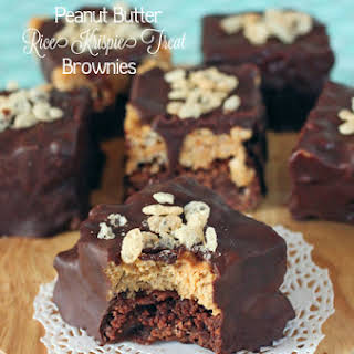 Chocolate Covered Peanut Butter Rice Krispie Treat Brownies.