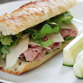 Roast Beef, Arugula and Shaved Parmesan on a Baguette.