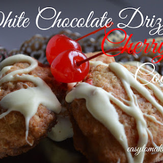White Chocolate Drizzled Cherry Cookies