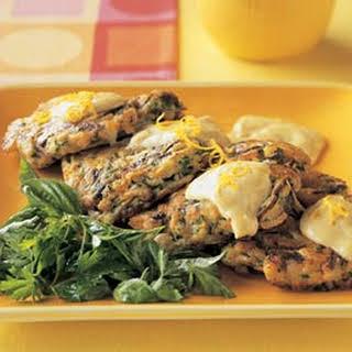 Crab Fritters with Herb Salad and Meyer Lemon Aïoli.