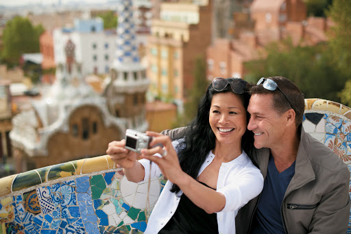 Tere-Moana-Barcelona-snapshot - Visit Antoni Gaudí's Parc Güell and capture a memory while in Barcelona during a shore excursion on Paul Gauguin Cruises' Tere Moana — or on a pre- or post-cruise stay.
