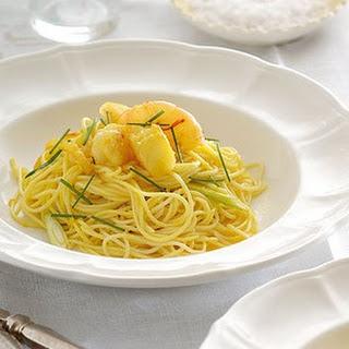 Saffron Pasta with Garlic Prawns and Preserved Lemon Recipe