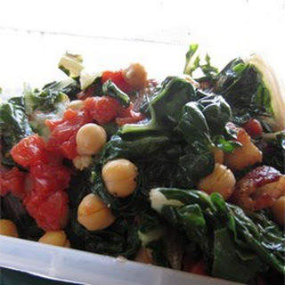 Swiss Chard with Garbanzo Beans and Fresh Tomatoes.