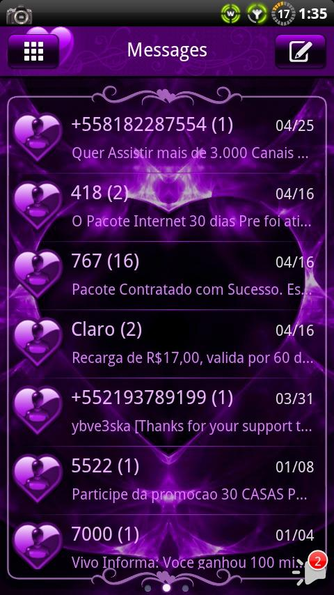 Valentines Purple GO SMS Theme- screenshot