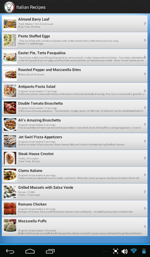 Italian Recipes - screenshot