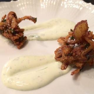 Curtis Stone's Onion Bhaji With Coriander Crème Fraîche