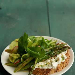 Spring Greens with Asparagus-Ricotta Toast.