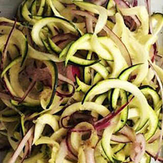Courgette And Red Onion Side Salad With A Very Light Honey Mustard Dressing.