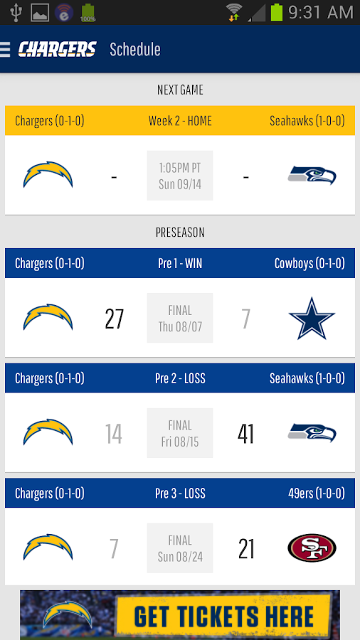San Diego Chargers Android Apps On Google Play