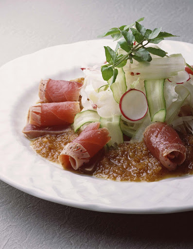 Culinary-Experiences-Nobu-Sashimi-Salad - While dining on a Crystal cruise liner, try the Nobu Sashimi Salad for a delicious way to start your meal.