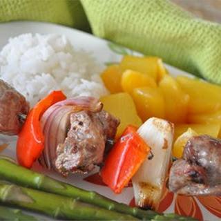 Orange Beef Kabobs with Grilled Fruit.