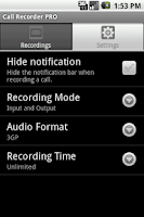 Screenshot of Call Recorder PRO
