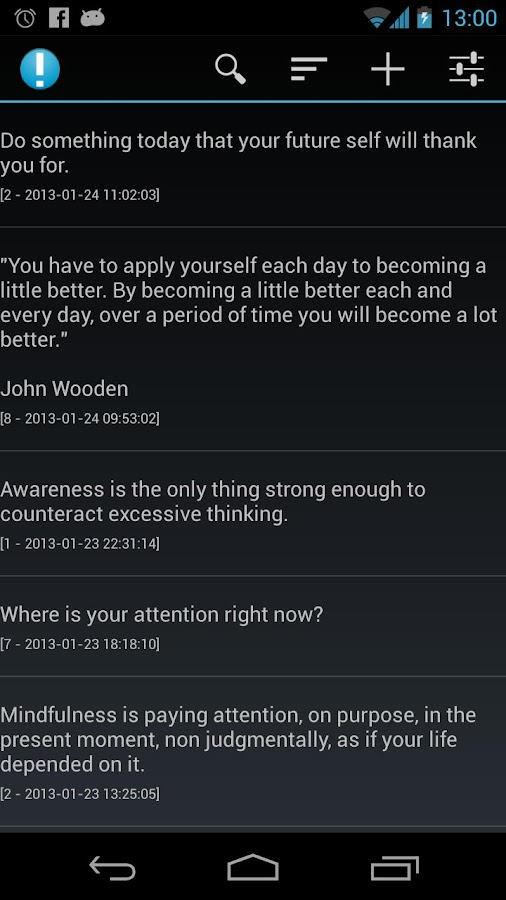 Notifications of Mindfulness - screenshot