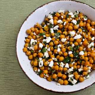 Garlicky Roasted Chickpeas (Garbanzo Beans) with Feta, Mint, and Lemon.