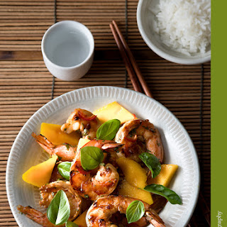 Cilantro Lime Shrimp with Mango, Basil and Coconut Rice.