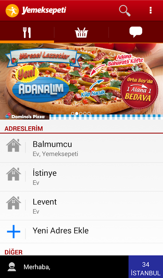 Yemeksepeti- screenshot