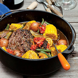 Dutch Oven-Braised Beef and Summer Vegetables.