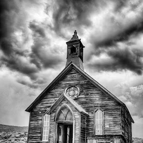 Sanctuary of Ghosts by Christian Wicklein - Black & White Buildings & Architecture ( clouds, church, black and white, california, bodie,  )