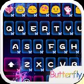 Neon Butterfly Emoji Keyboard