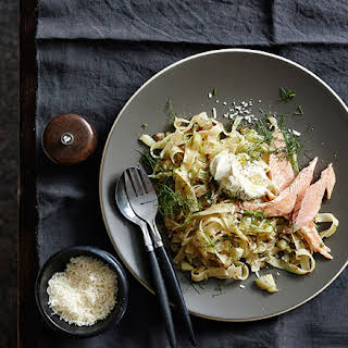 Tagliatelle With Caramelised Fennel, Smoked Trout And Crème Fraîche.