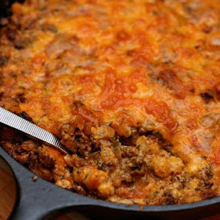 Green Chile Hominy Casserole with Chorizo